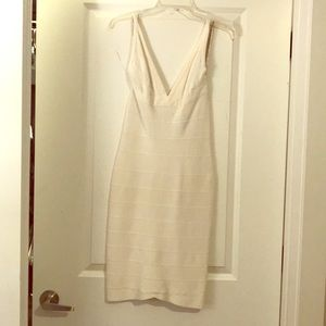 Herve Leger Mini Off-White Bandage Dress